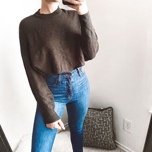 wilfred free - wool/linen cropped pullover sweater